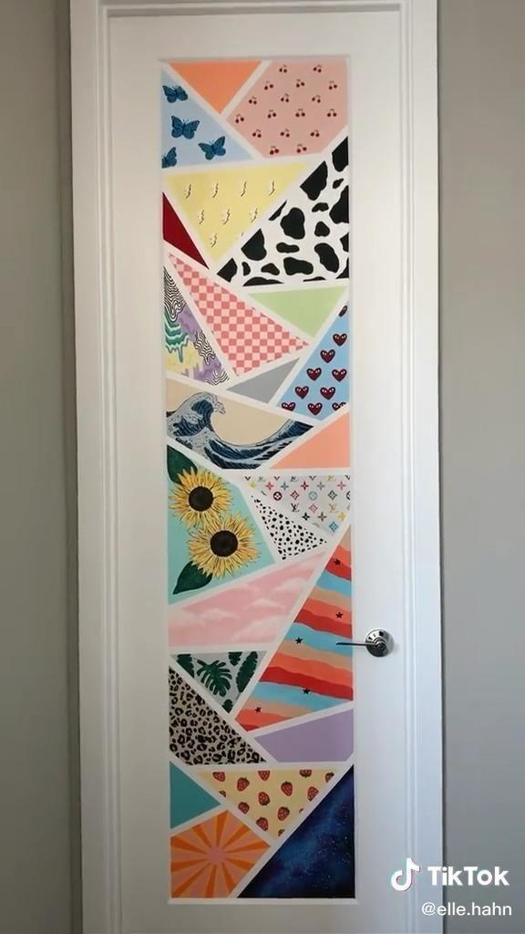 Tiktok Painting Aesthetic Painting Wall Wallart Bedroom In 2020 Painted Bedroom Doors Wall Painting Aesthetic Room Decor