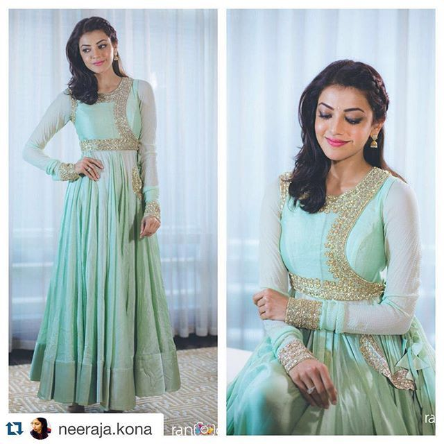 #Repost @neeraja.kona with @repostapp. ・・・ And she wears her @anushreereddyofficial with such grace.. @kajalaggarwalofficial for #SardaarGabbarSingh media interactions @rangdephotography @ashgudala