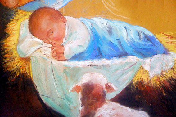 Pecorella - particolare della natività eseguita a Firenze come madonnaro durante le feste natalizie del 2012