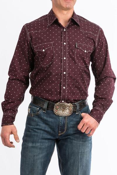 51076bdfc83 Cinch Burgandy Pattern Modern Fit Shirt