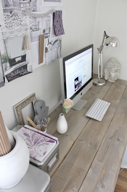 Same DIY dining table idea.. even better for office! Love the grey walls and purple accents.. girly touch to rustic! perhaps long enough to seat 2 people would be cool?!