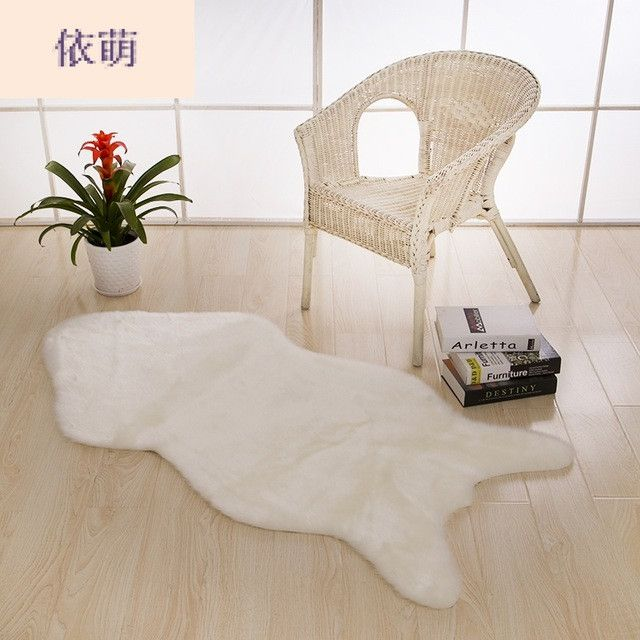 Artificial Sheepskin Fluffy Fur Chair Seat Sofa Cover Carpet Mat Pad Area Rug Bedroom Washable Decorative White Gray Purple Red