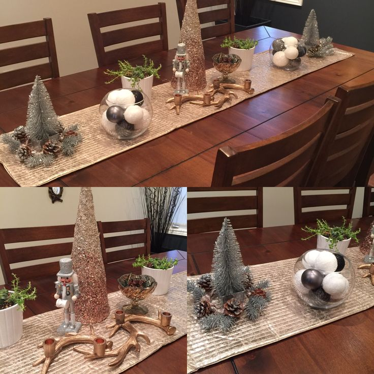 Dinning room table. Christmas decor. Michaels, Homesense and Dollarama.