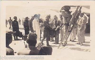 JAPANESE SURRENDER PEACE ENVOY BOARDING C54 FLIGHT TO MANILA WWII SNAPSHOT PHOTO