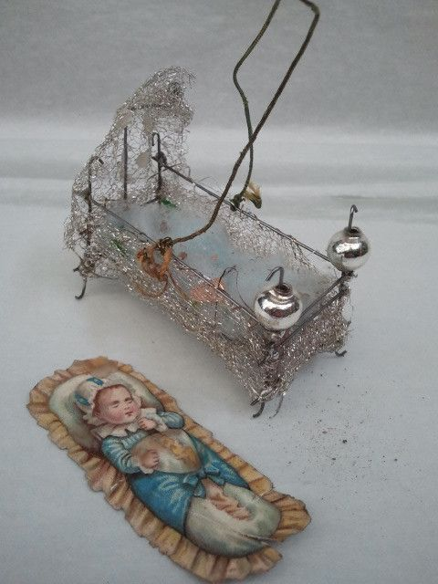 Old German Sebnitz Wire Wrapped Baby Bed Ornament | eBay