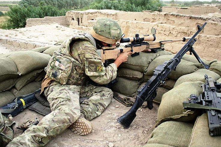 British soldier in overwatch position. Includes sniper rifle, FN MAG, SA80, and a LAW.