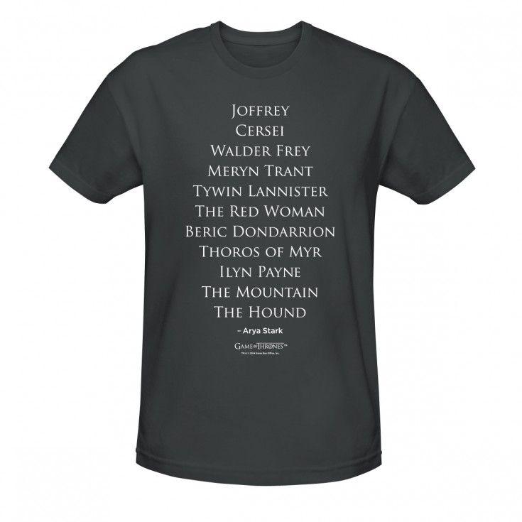 Game of Thrones Arya's Kill List T-Shirt 24.99