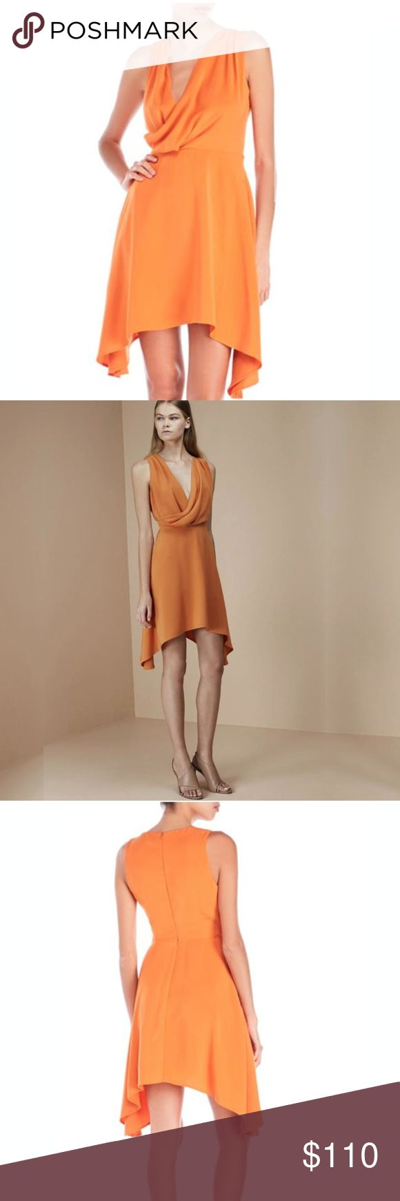NWT Keepsake the Label Escape Mini Dress Australian brand Keepsake keeps churning out spectacular dresses. This sophisticated cocktail dress in tangerine orange is a size MEDIUM (between size 8-10). Details include a woven construction, draped V-neck, pleating at shoulder, sleeveless, high-low hem and concealed back zip closure. 100% Polyester. KEEPSAKE the Label Dresses