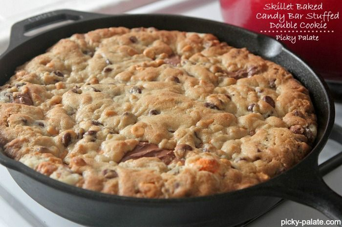 Skillet Baked Candy Bar Stuffed Double Cookie | Skillets, Chocolate ...