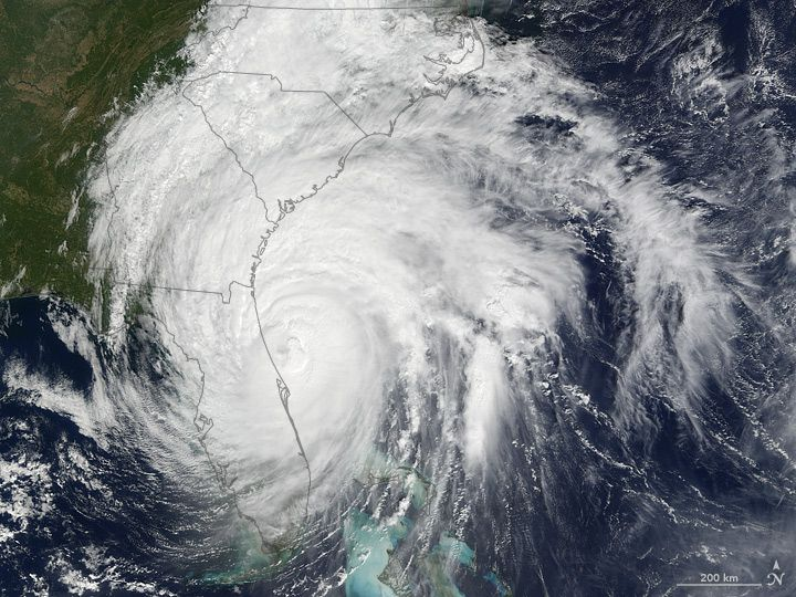"""Hurricane Matthew Brushes Florida Coast. In the U.S., a hurricane watch has been issued from Surf City to Cape Lookout, North Carolina. """"Matthew is expected to produce total rain accumulations of 8 to 12 inches (20 to 30 centimeters) over the Atlantic coast of the United States from central Florida to eastern North Carolina, with possible isolated maximum amounts of 15 inches (38 cm),"""" said the National Hurricane Center."""