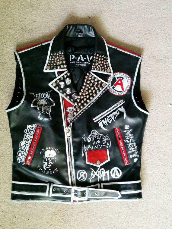 punk leather vest crust punk vest crust punk by StuddedStitches
