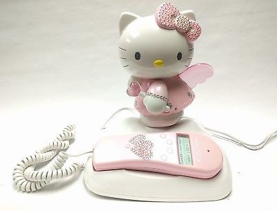 7f071432a HELLO KITTY ANGEL IN CLOUDS LIGHT UP CORDED PHONE CALLER ID LIGHTS UP