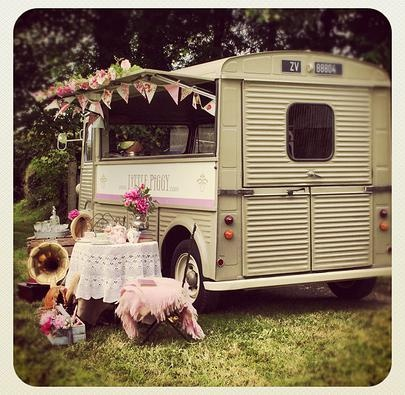 """Little Piggy"" Citroen H Van - cute vintage fit out. This kitsch truck is for hire & events."