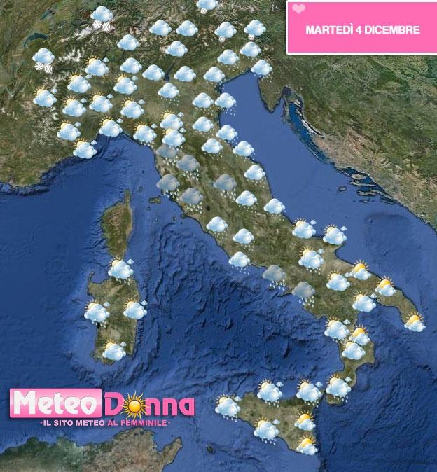 Un minimo di bassa pressione posizionato sull'Italia