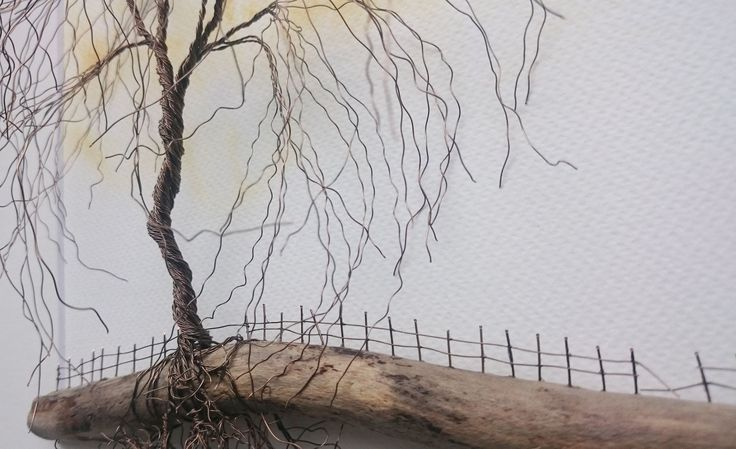Copper Wire Tree on Driftwood... Facebook: The Stone Art Gallery