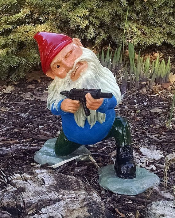 Combat Gnome Soldier Sculpture Funny Military By GnarlyGnomeArt