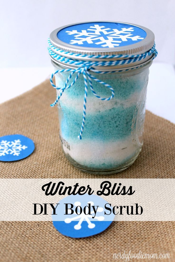 Winter Bliss DIY body scrub is great for taking care of your skin in those dry months and makes a wonderful Christmas gift!
