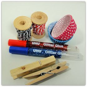 selber, machen, basteln, diy, ideen, anleitung, Holzklammer-Schmetterlinge aus Muffinförmchen