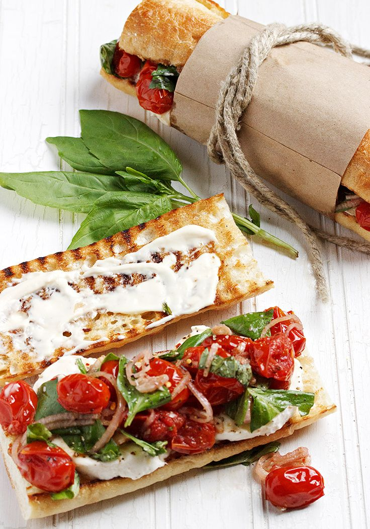 Blistered Tomato Caprese Sandwich