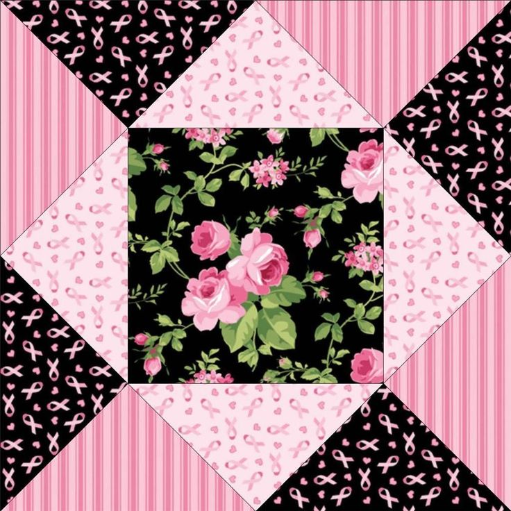 Jane Shabby Black Pink Floral Rose Breast Cancer Ribbon Pre-cut Quilt Fabric Kit
