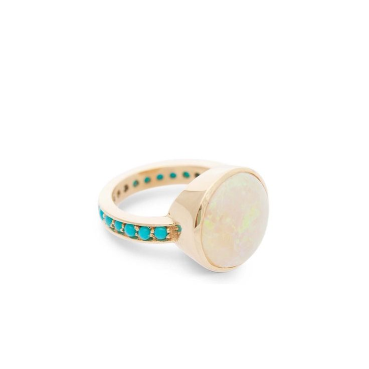 Opal Ring with Turquoise Band