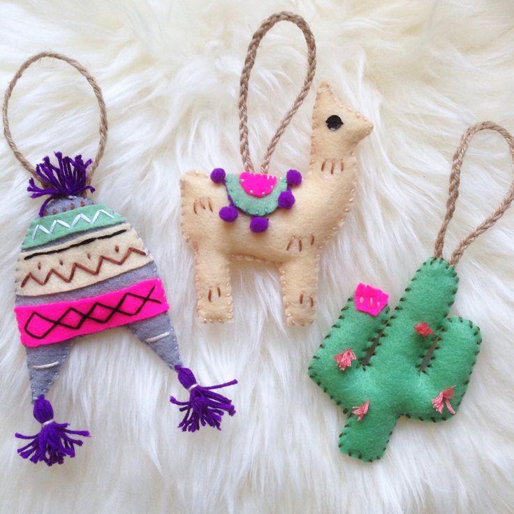 Set of three Peru Decorations. Hand Embroidered Christmas Decorations. Handmade Reward. Hanging Decorations.Llama/cactus Christmas tree ornament