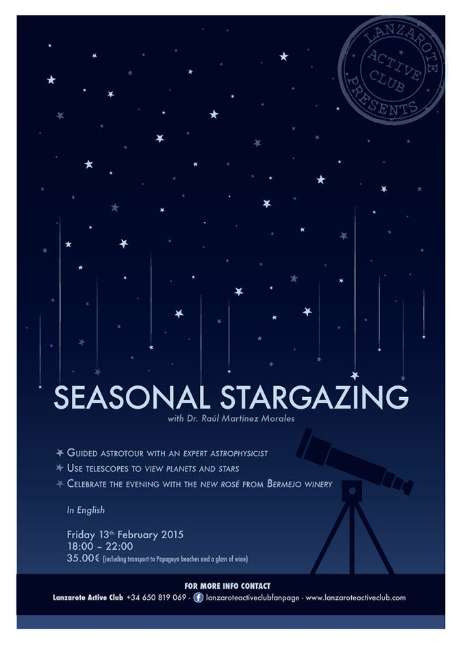 A3 poster - Stargazing excursion - It doesn't fall in the series of previous posters, because it's a extra-excursion, but we decided to keep the same style of the others. Made for LAC. #lilymedicidesign #graphicwork #ilovemywork #creative #design #stars #excursions #stargazing