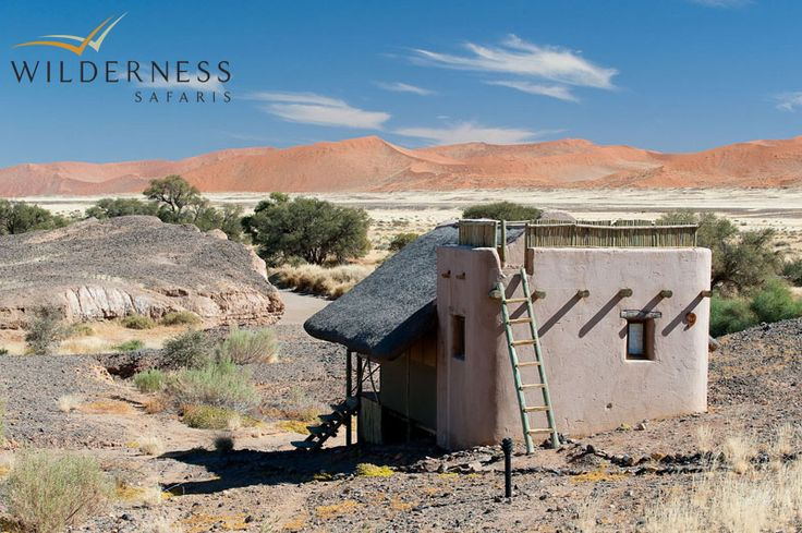 Kulala Desert Lodge - Each unit is built on a wooden platform to catch the cooling breezes and has a deck on the flat rooftop where bedrolls are placed for guests to sleep under the myriad stars that Namibia's clear skies portray. #Safari #Africa #Namibia #WildernessSafaris