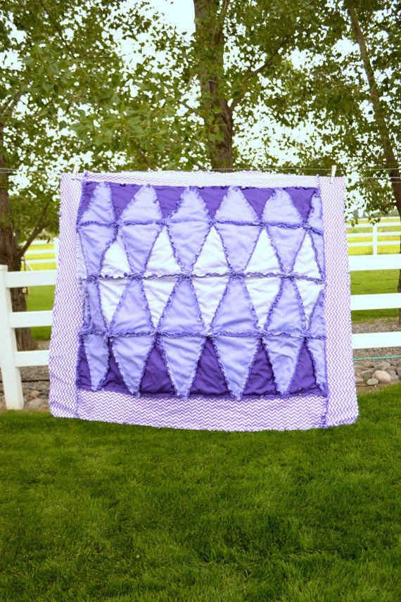 Girl Rag Quilt Purple Baby Blanket with by avisiontoremember