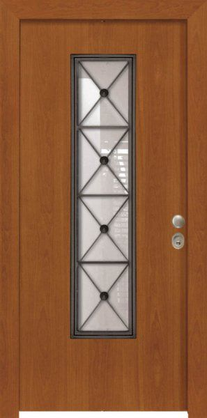 Πόρτα παντογραφική flat με τζάμι.
