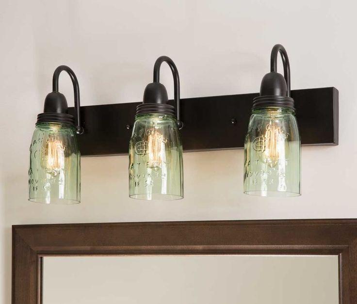 Primitive Mason Jar Vanity Lamp 3 Lights Bathroom Kitchen Entryway Country Decor #Unbranded #RusticPrimitive