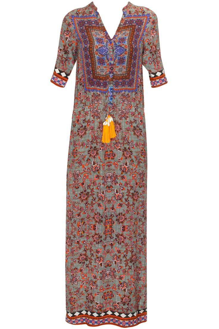 Grey and orange carpet print long dress with side slits available only at Pernia's Pop Up Shop..#perniaspopupshop #shopnow #happyshopping #designer #newcollection #winterfestive #clothing #hemantandnandita