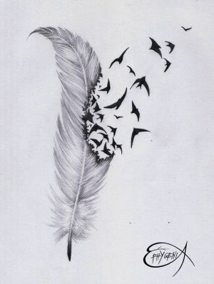 ˚Feather & birds tattoo