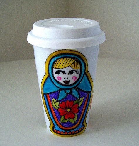 Ceramic Travel Mug Russian Dolls Hand Painted Matryoshka Folk Eco Cup Babushka Aqua blue red purple painted - MADE TO ORDER