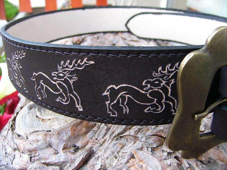 vésett öv Leather Engraved belt 70 USA