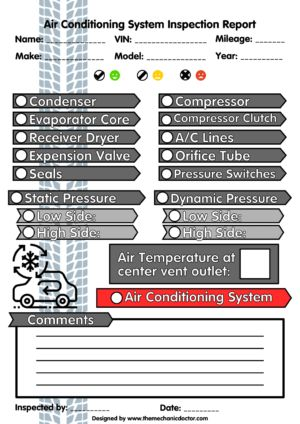Air Conditioning System Inspection Report