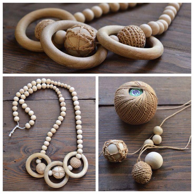 Погремушка-слингобусы. Кольца позаимствованы у штор) #woodenbeads #bead #деревянные #бусы #слингобусы