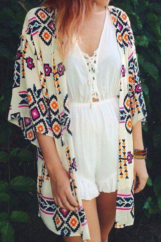 Fashionable Printed Half Sleeve Kimono Blouse For WomenBlouses | RoseGal.com