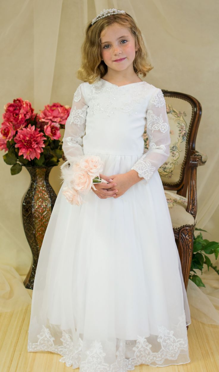 Long Sleeve First Communion Dress w/Option Train Style X5073