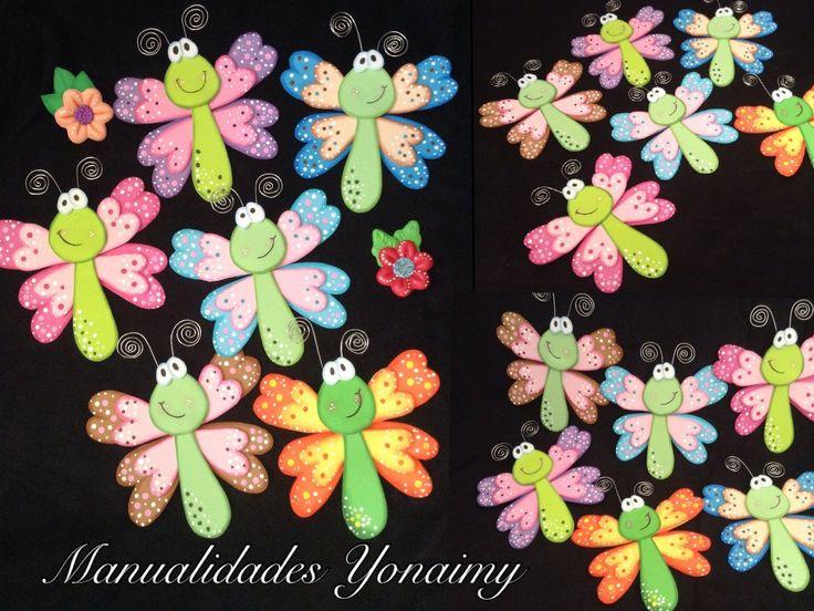 Mariposas o libelulas de foamy o goma eva - Como hacer mariposas de goma eva ...