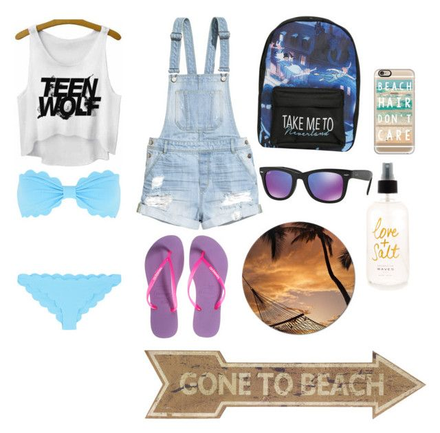 """Beach neverland "" by cozyncomfy on Polyvore featuring H&M, Havaianas, Disney, Marysia Swim, Casetify and Ray-Ban"