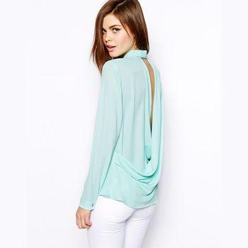 voltar deep v blusa chiffon verde menta vez- no colarinho mulheres camisa 2014 novo senhora do escritório sexy workwear haoduoyi& camisas blusas