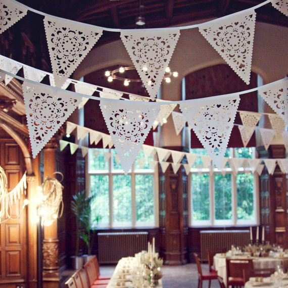 Wedding bunting, Cream Wedding bunting with a delicate vintage lace effect. This bunting is a luxury product like no other, it will help you to