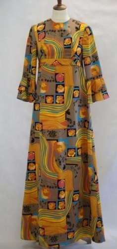 Rikke Design kjole maxi med trompet armer br 87 liv 84 hofter 100 Syntetisk hndvask ikke bltlegges