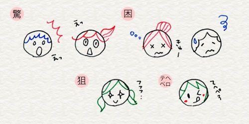 3-2. 顔の描きわけ   4色ボールペンで!かわいいイラスト描けるかな