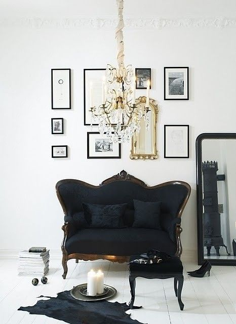 black white glamour living room--my bedroom inspiration photo!!  Maybe with a touch of pale pink to soften it….