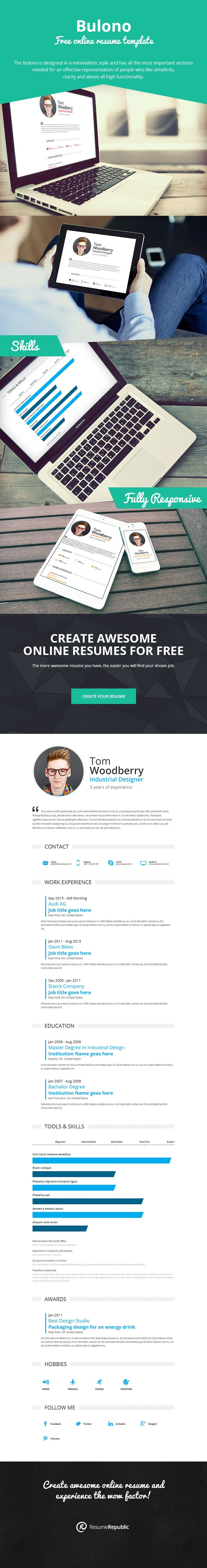 Best Resume Template Bulono Images On   Online Resume