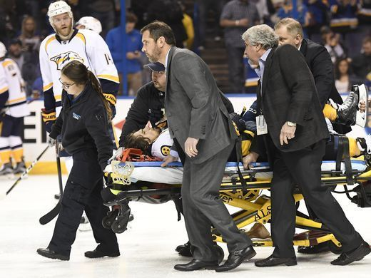 Predators center Kevin Fiala (56) is carted off the ice after being injured during the second period in game 1 of the second round NHL Stanley Cup Playoffs at the Scottrade Center Wednesday, April 26, 2017, in St. Louis, Mo.  George Walker IV / The Tennessean