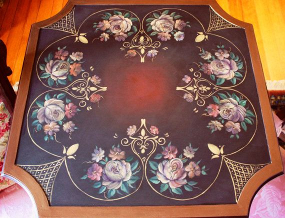 European Floral Game Table by OneCreativeCouple on Etsy, $445.00