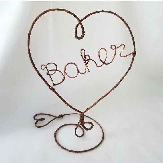 Personalized Rustic Cake Topper- HEART - Rustic and Copper Wire Cake Topper with Your Name - Cake Topper, Weddings, Table Center Piece